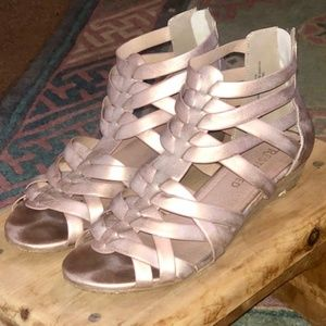 Worn leathered dusty pink sandals